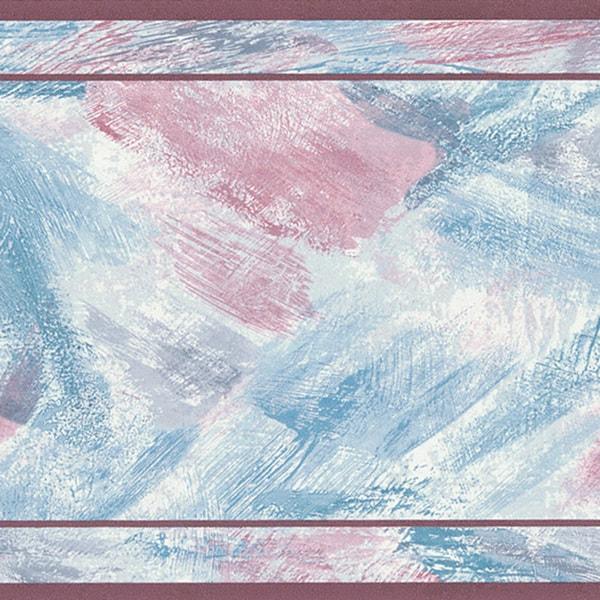 Brewster Maroon Brush Stroke Border Wallpaper