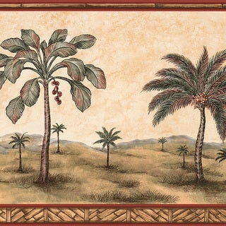 Brewster Tawny Palm Tree Border Wallpaper