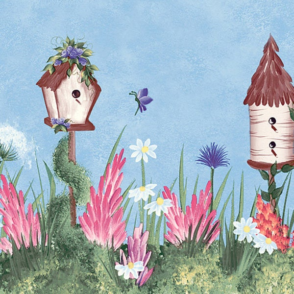 Brewster Light Blue Bird House Border Wallpaper