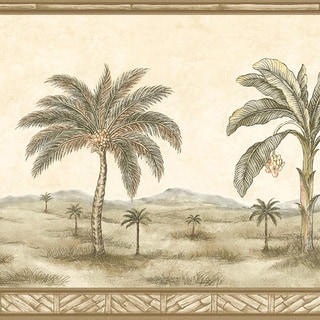 Brewster Olive Palm Tree Border Wallpaper