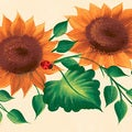 Brewster Yellow Sunflower Floral Border Wallpaper