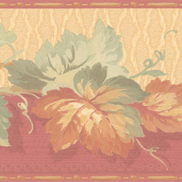 Brewster Tawny Leaves Border Wallpaper