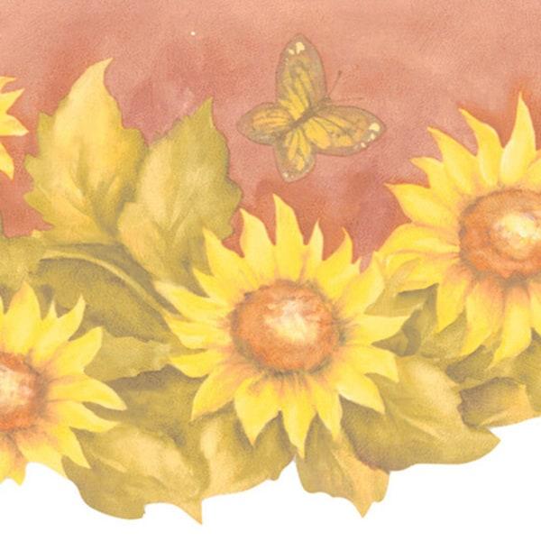 Brewster Yellow Sunflower Border Wallpaper