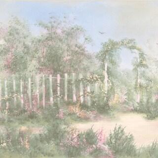 Brewster Pastel Garden Border Wallpaper