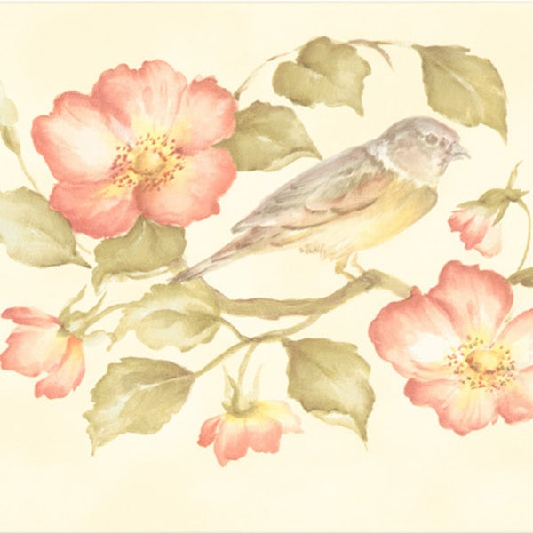Brewster Peach Wild Rose Bird Border Wallpaper