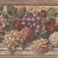Brewster Light Brown Fruit & Floral Border Wallpaper