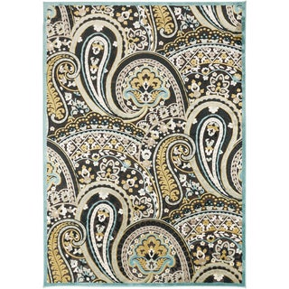Meticulously Woven Cabrits Contemporary Blue Floral Paisley Rug (5'2 x 7'6)