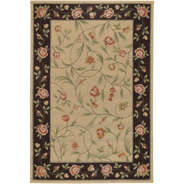 Hand-hooked Covington Catesby Garden Ivory/ Black Indoor/ Outdoor Rug (3'6 x 5'6)