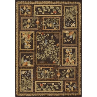 Hand-hooked Covington Orchard View Chocolate/ Multi Indoor/ Outdoor Rug (8' x 11')