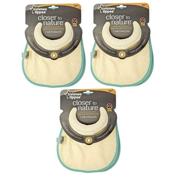 Tommee Tippee Blue Closer to Nature Milk Feeding Bibs (Pack of 6)