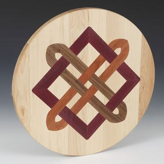 Maple Wood Lazy Susan with Celtic Square Knot Inlay