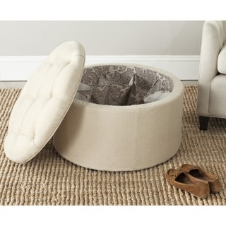 Safavieh Tanisha Beige Shoe Storage Ottoman