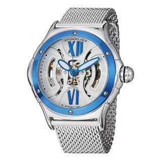 Stuhrling Original Men's Alpine Sigma Automatic Skeleton Mesh Band Watch