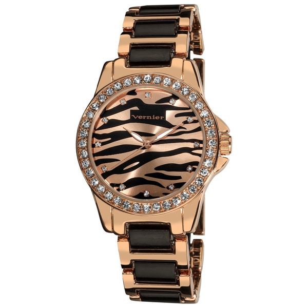 Vernier Ladies Zebra Dial Crystal Two-Tone Bracelet Fashion Watch