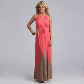 London Times Women'sPink Keyhole Neck Matte Jersey Maxi Dress