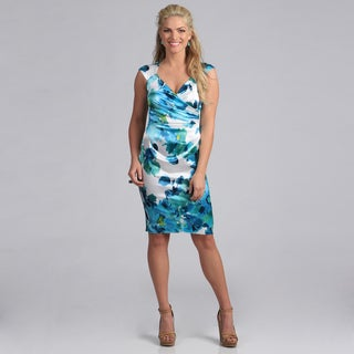 London Times Women's Floral Print Stretch Satin Sheath Dress