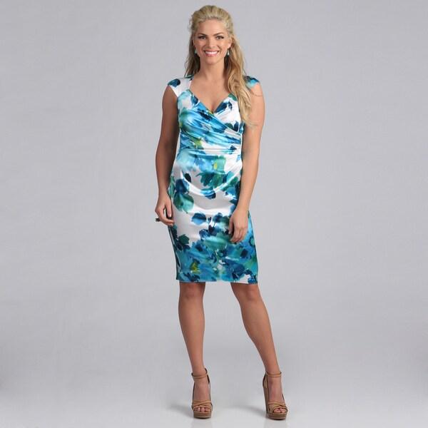 London Times Women's Floral Print Stretch Satin Sheath Dress
