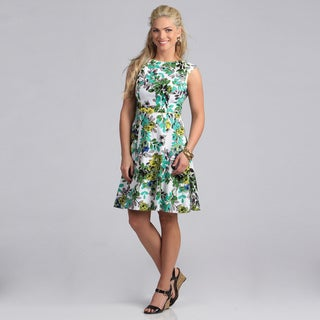 London Times Women's Green Floral Fit and Flare Dress