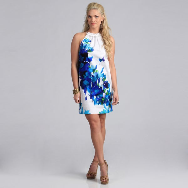 London Times Women's Aqua Floral Print Shift Dress