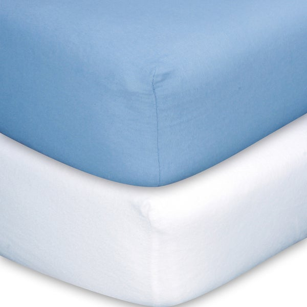 Trend Lab Blue/White Flannel Crib Sheet Set (Pack of 2)