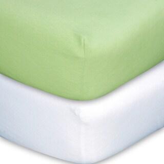 Trend Lab Sage/ White Flannel Crib Sheet Set (Pack of 2)