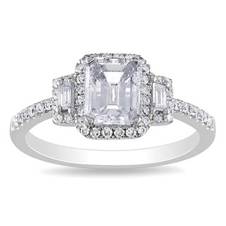 Miadora 18k Gold 1 1/3ct TDW Certified Emerald Cut Diamond Ring (D, SI1)