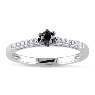 Miadora Sterling Silver 1/4ct TDW Black and White Diamond Ring (H-I, I2-I3)