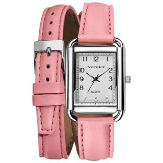 Vernier Ladies Fashion Pink Genuine Puffed Leather Double Wrap Square Case Quartz Watch