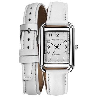 Vernier Ladies Fashion Genuine Puffed Leather Double Wrap Square Case Quartz Watch
