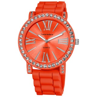 Vernier Ladies Oversized Crystal Bezel Roman-Numeral Silicone Strap Quartz Two-Tone Fashion Watch