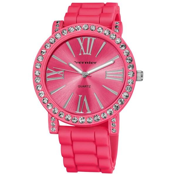 Vernier Ladies Oversized Crystal Bezel Roman-numeral Silicone Strap Quartz Fashion Watch