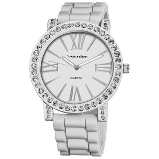 Vernier Ladies Oversized Crystal Bezel Roman-Numeral White-Silicone Strap Quartz Fashion Watch