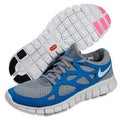 NIKE Women's 'Free Run+ 2' Grey/ Teal Running Shoes
