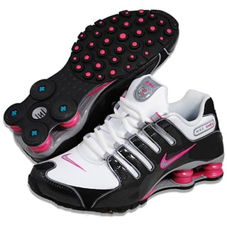 Nike Women's 'Shox NZ SL' White/ Black/ Pink Running Shoes