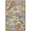 Outdoor Escape Pacific/ Heights Ocean Rug (2' x 4')