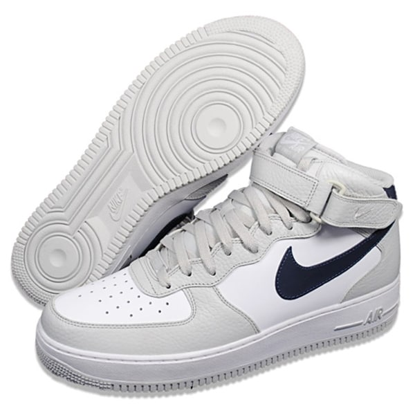 Nike Men's 'Air Force 1' Mid '07 White/ Grey Basketball Shoes