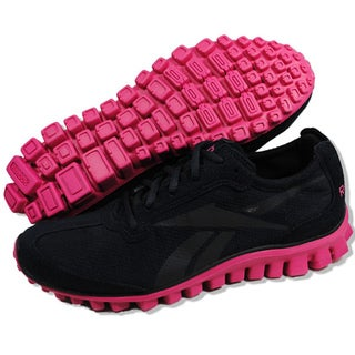 Reebok Women's 'Realflex Run' Black and Pink Running Shoes