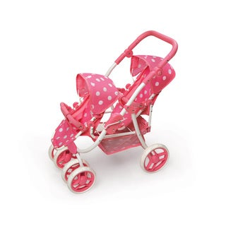 Pink Polka Dots Reversible Double Doll Stroller