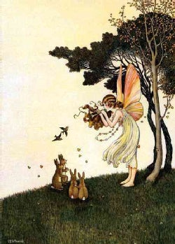 Fairy Playing Pipes to Animals Greeting Card (Cards)