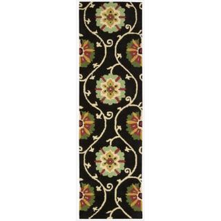 Hand-tufted Suzani Black Floral Medallion Rug (2'3 x 8')