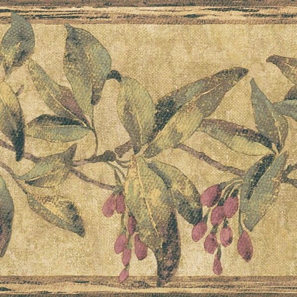 Burgundy Berry Floral Border Wallpaper