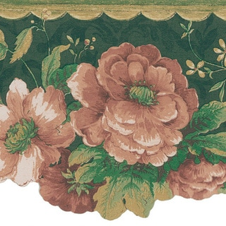 Dark Green Floral Border Wallpaper