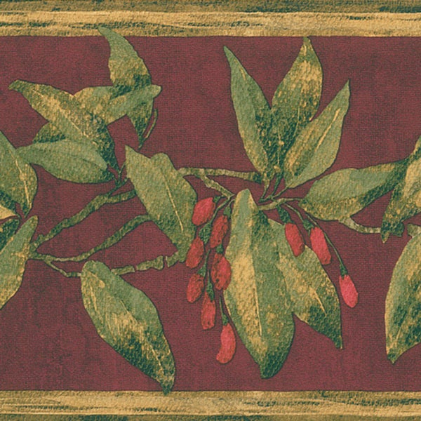 Burgundy Berry Border Wallpaper