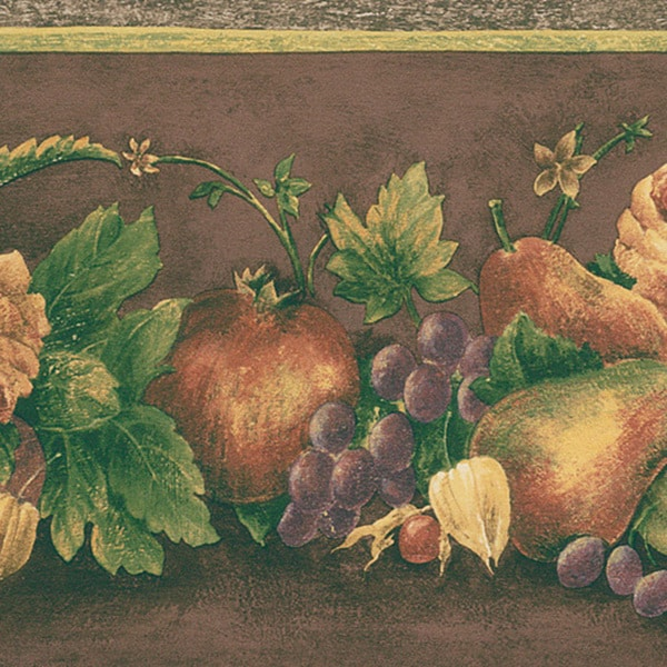 Dark Brown Fruit Border Wallpaper