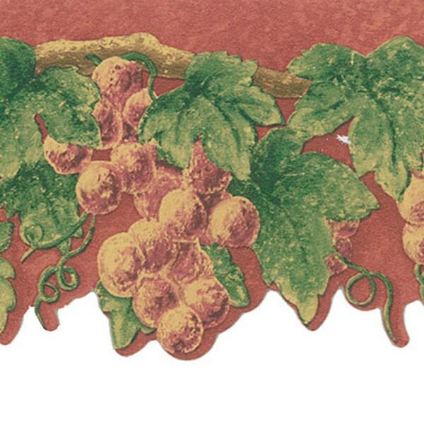 Burgundy Grape Vine Border Wallpaper