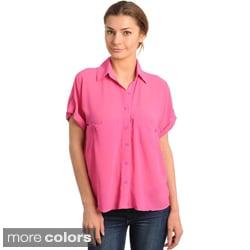 Stanzino Women's Relaxed Button-down Chiffon Top