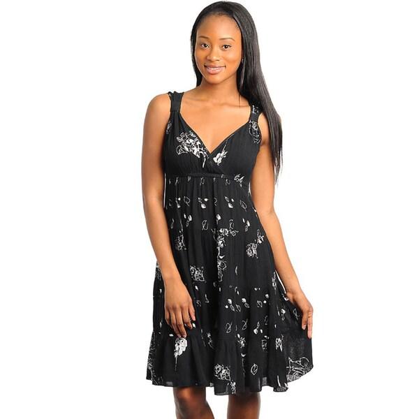 Stanzino Women's Black Floral Printed Sundress