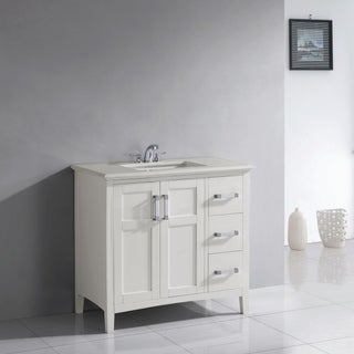 'Salem' 36-inch White Marble Top Single Sink Bathroom Vanity