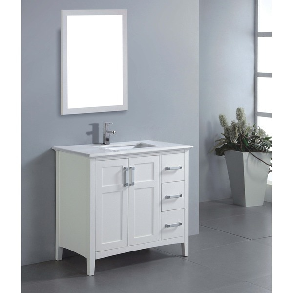 Salem 36 Inch White Quartz Marble Top Single Sink Bathroom Vanity