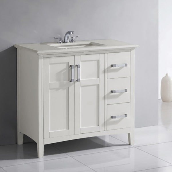 White  Door  Drawer Bath Vanity With White Quartz Marble Top